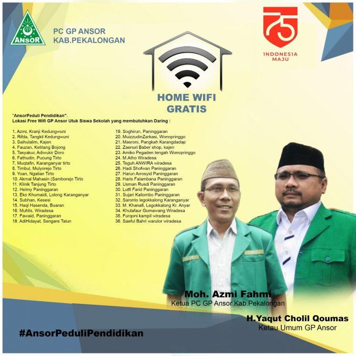 PC GP Ansor Kabupaten Pekalongan Bagi Wifi Gratis untuk Siswa Sekolah